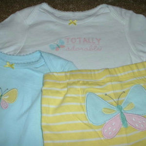 """NWT CARTER/'S GIRL 3PC Set BUTTERFLY /""""TOTALLY ADORABLE/"""" SIZES 12M /& 18M"""